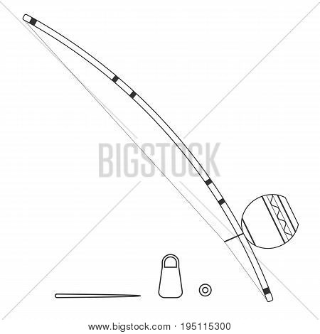 Isolated black outline decorative ornate berimbau with caxixi baqueta and dobrao on white background. Line brazilian musical instrument for bateria of capoeira