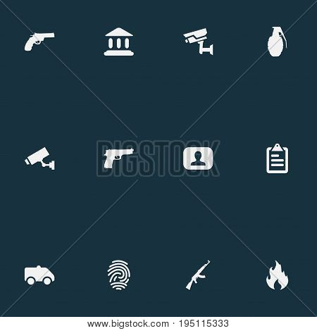 Vector Illustration Set Of Simple Police Icons. Elements Pistol, Judicial House, Explode And Other Synonyms Danger, Alarm And Court.