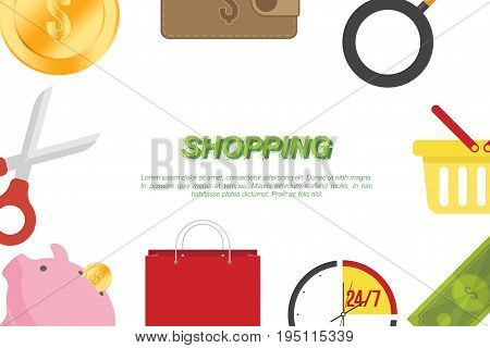 Banner with shopping icons on world map background. Flat vector illustrations on the theme of shopping.