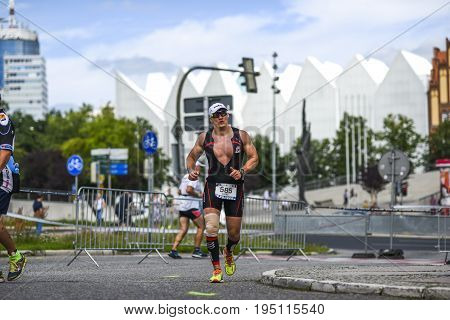Szczecin Poland July 9 2017: Triathlon Szczecin Triathletes running.