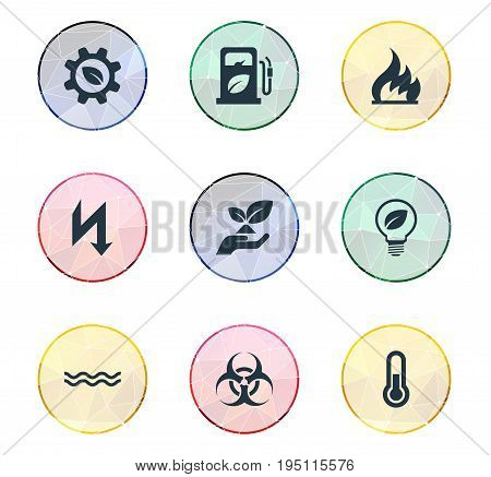 Vector Illustration Set Of Simple Energy Icons. Elements Fahrenheit, Naval, Biology Peril And Other Synonyms Hazard, Bulb And Lightning.