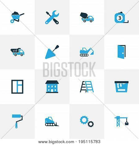 Construction Colorful Icons Set. Collection Of Dozer, Measure Tool, Lifting Hook And Other Elements. Also Includes Symbols Such As House, Concrete, Wrench.