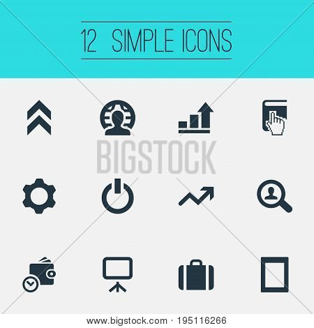 Vector Illustration Set Of Simple Entrepreneurship Icons. Elements Global Business, Gadget, Selection And Other Synonyms Gadget, Book And Frame.