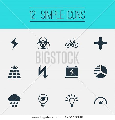 Vector Illustration Set Of Simple Energy Icons. Elements Tachometr, Velocipede, Safe Lightbulb And Other Synonyms Supply, Peril And Cloudburst.