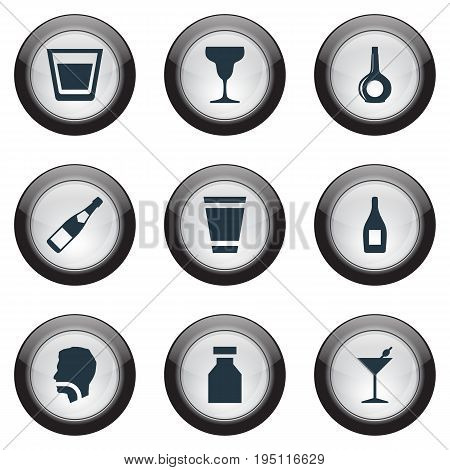 Vector Illustration Set Of Simple Water Icons. Elements Cup, Wine, Glass And Other Synonyms Martini, Wine And Water.