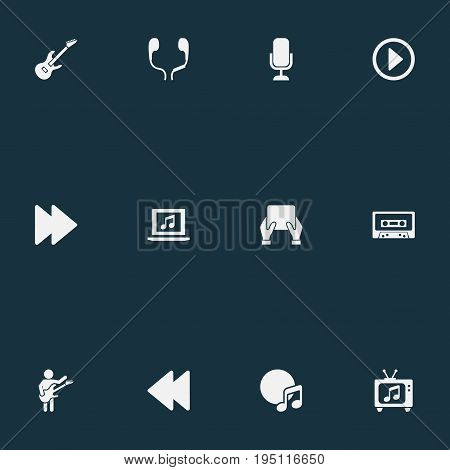 Vector Illustration Set Of Simple Sound Icons. Elements Metal, Ringtones, Podcast And Other Synonyms Sheet, Menu And Ringtones.