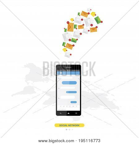 New Message In White Smartphone On Background World Map, Notification Icon. Flat Vector Illustration
