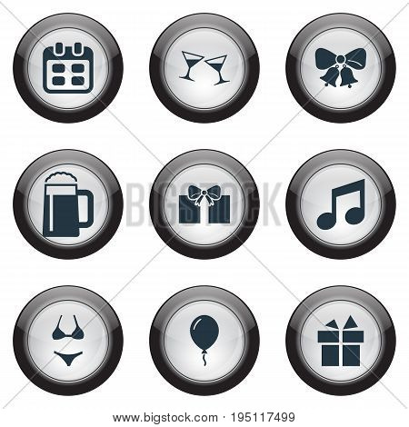 Vector Illustration Set Of Simple Party Icons. Elements Tone, Bells, Surprise And Other Synonyms Surprise, Party And Mug.