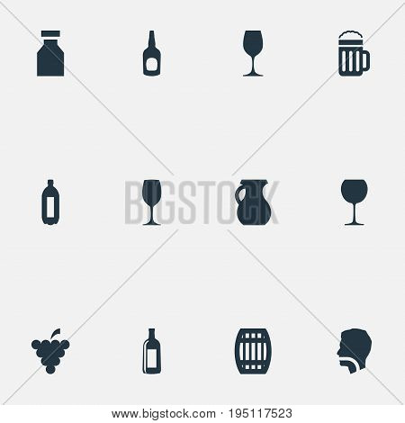Vector Illustration Set Of Simple Beverage Icons. Elements Wineglass, Whiskey, Vineyard And Other Synonyms Cask, Barrel And Tumbler.
