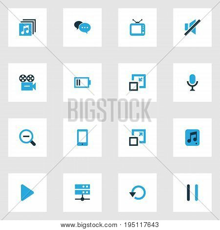 Media Colorful Icons Set. Collection Of Cellphone, Decrease, Stop And Other Elements. Also Includes Symbols Such As Enlarge, Play, Battery.
