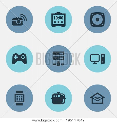 Vector Illustration Set Of Simple Internet Icons. Elements Electric Stove, Wrist Device, Desktop And Other Synonyms Megaphone, Photo And Smart.