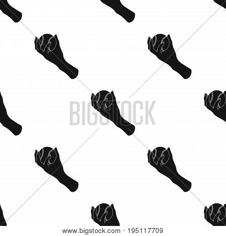 Hand with ball. Baseball single icon in black style vector symbol stock illustration .