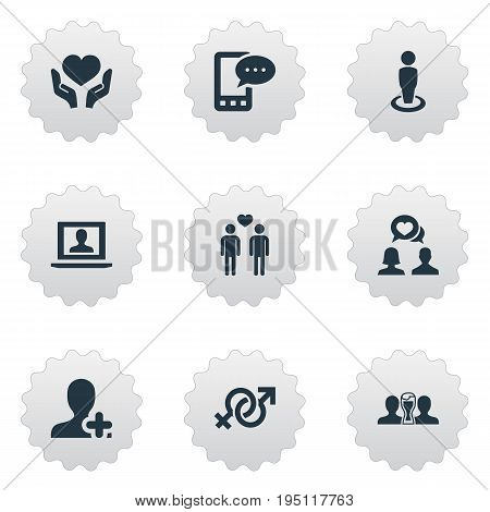 Vector Illustration Set Of Simple  Icons. Elements Profile, Homosexual, Symbol And Other Synonyms Heart, Men And Mobile.