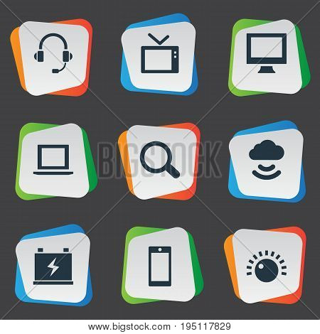 Vector Illustration Set Of Simple Hitech Icons. Elements Monitor, Magnifier, Headphones And Other Synonyms Laptop, Computer And Headphones.