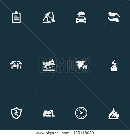 Vector Illustration Set Of Simple Guarantee Icons. Elements Ignition, Weather Safety, Wreck And Other Synonyms Home, Palm And Weather.