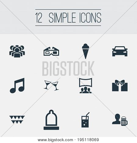 Vector Illustration Set Of Simple Banquet Icons. Elements Sorbet, Tone, Carbonated Drink And Other Synonyms Beer, Celebration And Note.