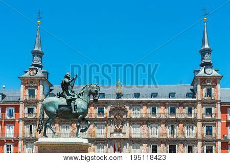 Mayor Square in Madrid Spain.  Statue of King Philips III
