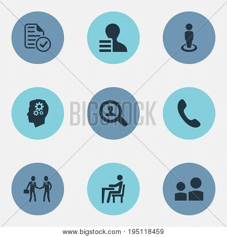 Vector Illustration Set Of Simple Hr Icons. Elements Subjection, Office Work, Approved Document And Other Synonyms Find, Subjection And Gear.