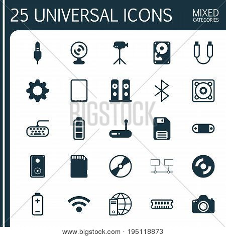 Hardware Icons Set. Collection Of Accumulator Sign, Memory Card, Settings And Other Elements. Also Includes Symbols Such As Accumulator, Movie, Webcam.