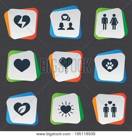 Vector Illustration Set Of Simple Valentine Icons. Elements Homosexual, Vetirinary, Eco And Other Synonyms Shining, Love And Broken.