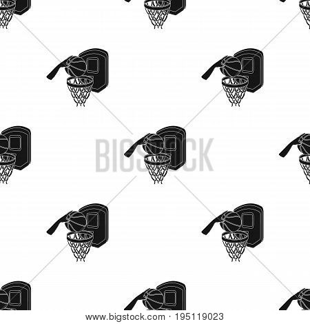 Hand with a ball near the basket.Basketball single icon in black style vector symbol stock illustration .