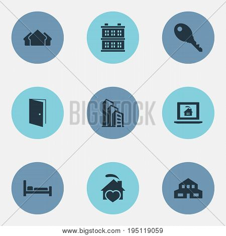 Vector Illustration Set Of Simple Real Icons. Elements Residential, Bed, Open Door And Other Synonyms Database, Lock And Entrance.