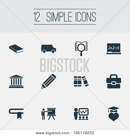 Vector Illustration Set Of Simple Education Icons. Elements Slideshow, Courthouse, Books And Other Synonyms Research, Book And Publicity.