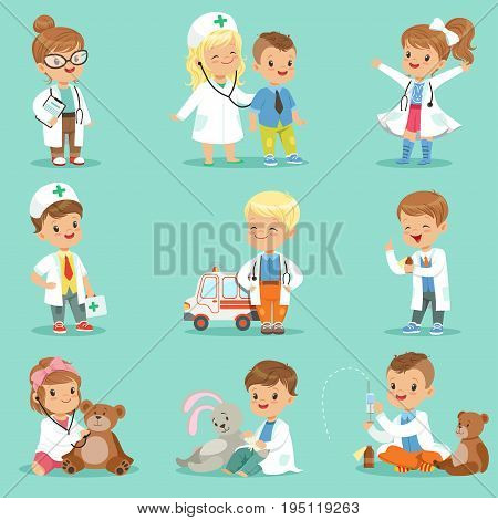 Cute kids playing doctor set. Smiling little boys and girls dressed as doctors examining and treating their patients vector illustrations isolated on a light blue background