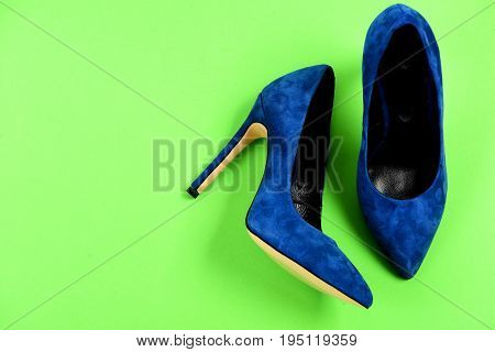 Fashion, Shopping And Glamour Concept. Shoes In Dark Blue Color
