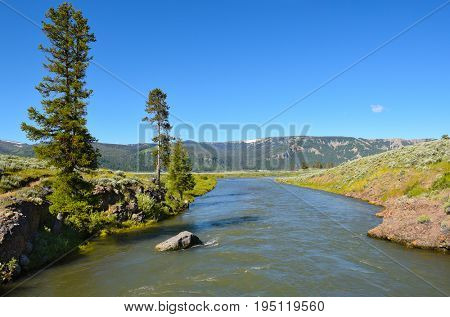 The Lamar River in Lamar Valley in Yellowstone National Park.