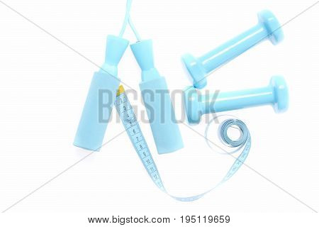 Roll Of Cyan Blue Measuring Tape Connected To Skipping Rope