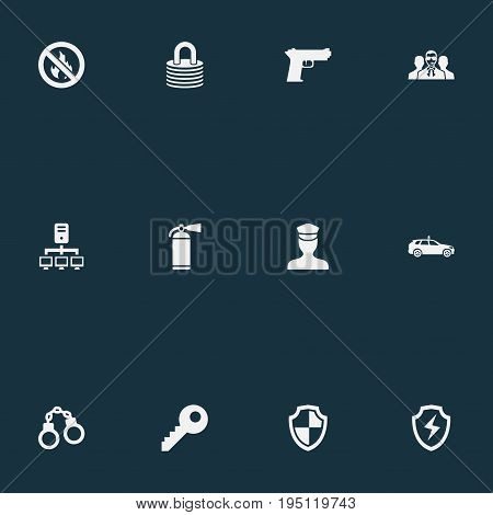 Vector Illustration Set Of Simple Secure Icons. Elements Handcuff, Cop Automobile , Agent Synonyms Safe, Officer And Agent.