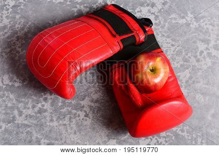 Professional Box Fight And Dieting Concept. Pair Of Boxing Sportswear