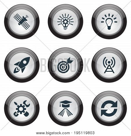 Vector Illustration Set Of Simple Solution Icons. Elements Target, Broadcast, Missile And Other Synonyms Mend, Transmitter And Antenna.