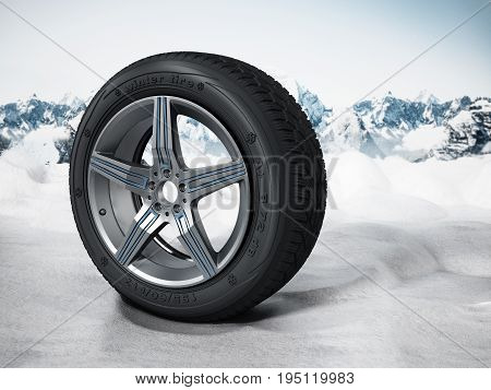 Winter tyre standing on snow. 3D illustration.