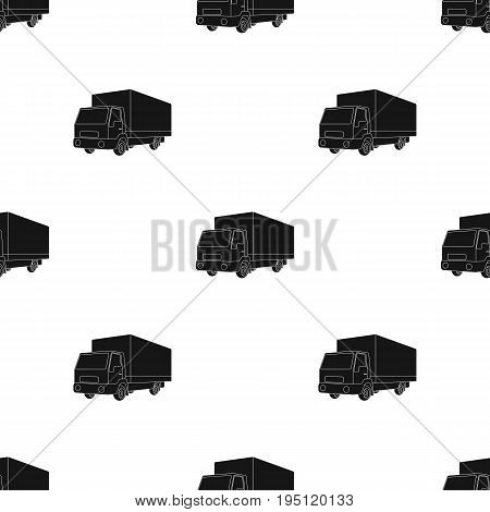 Truck with awning.Car single icon in black style vector symbol stock illustration .