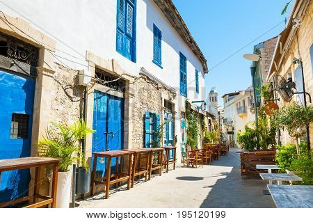 Beautiful old street in Limassol Cyprus. Travel and vacation