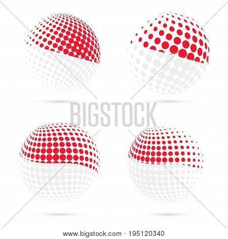 Monaco Halftone Flag Set Patriotic Vector Design. 3D Halftone Sphere In Monaco National Flag Colors