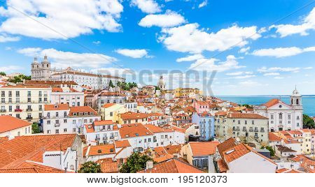View at the Alfama district from Portas do Sol in Lisbon - Portugal