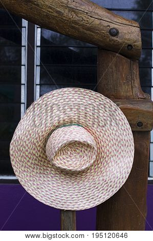 field hat agriculture wood hanging traditional asian