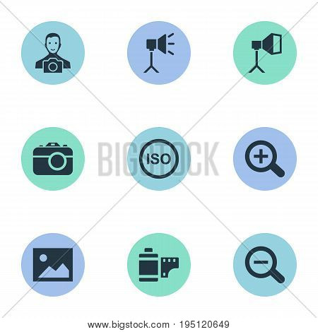 Vector Illustration Set Of Simple Photography Icons. Elements Luminous Origin, Photo Tape, Magnifying And Other Synonyms Tool, Zoom And Picture.