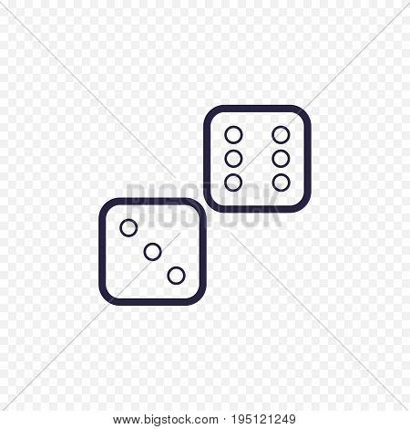 Dices Line Icon Casino Game. Cubes Thin Linear Signs For Lucky Game. Outline Concept For Websites, I