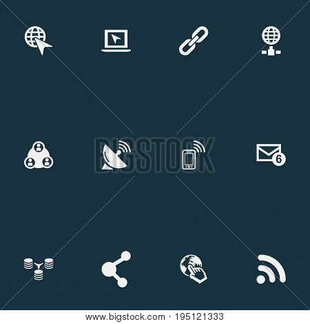 Vector Illustration Set Of Simple Browser Icons. Elements Server Relationship, Sputnik Signal, Nucleus And Other Synonyms Message, Hyperlink And Globe.