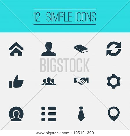 Vector Illustration Set Of Simple People Icons. Elements Textbook, Agreement, Pinpoint And Other Synonyms Team, Employee And Reminder.