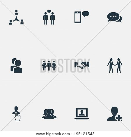 Vector Illustration Set Of Simple Buddies Icons. Elements Talk, Add Friend, Ensemble And Other Synonyms Message, Dialogue And Choice.