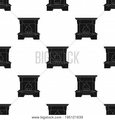 Fire, warmth and comfort. Fireplace single icon in black style vector symbol stock illustration .