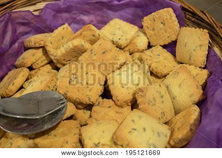 Lavender Cookies (biscuits) Sold At Local Store In Provence Region. France