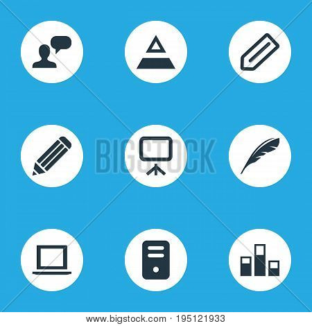 Vector Illustration Set Of Simple Design Icons. Elements Hierarchy, Assessment, System Unit And Other Synonyms Slideshow, Literature And System.
