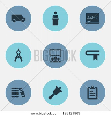 Vector Illustration Set Of Simple School Icons. Elements Travel Truck, Literature, Devider And Other Synonyms Screen, Bookstore And Guidebook.