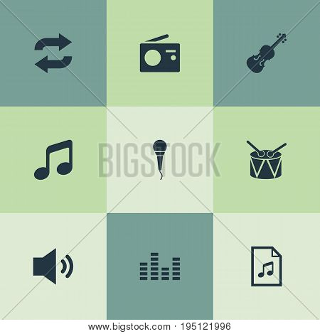 Vector Illustration Set Of Simple Melody Icons. Elements Record Player, Broadcasting Appliance, Melody And Other Synonyms Instrument, Loudspeaker And Cover.